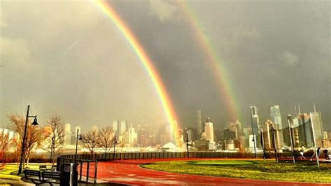 double rainbow captured   york city  jersey