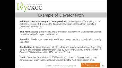 creating  elevator pitch   communicate