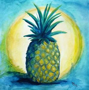 Original Watercolor Painting Pineapple