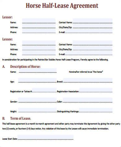 sample horse lease agreement  examples  word