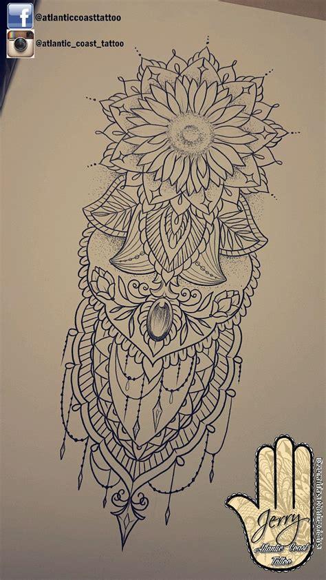 beautiful sunflower mandala tattoo ideas design