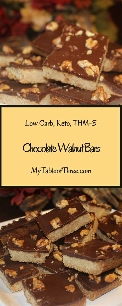 So now i've hyped it so much, it's time to get in the kitchen and start making my luscious italian dessert, so you too can boast! Chocolate walnut bars - THM S | Thm desserts, Low carb ...