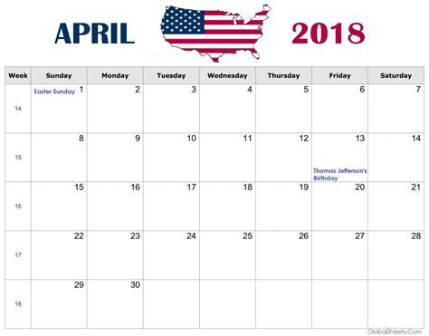 April 2018 Us Calendar With Holidays