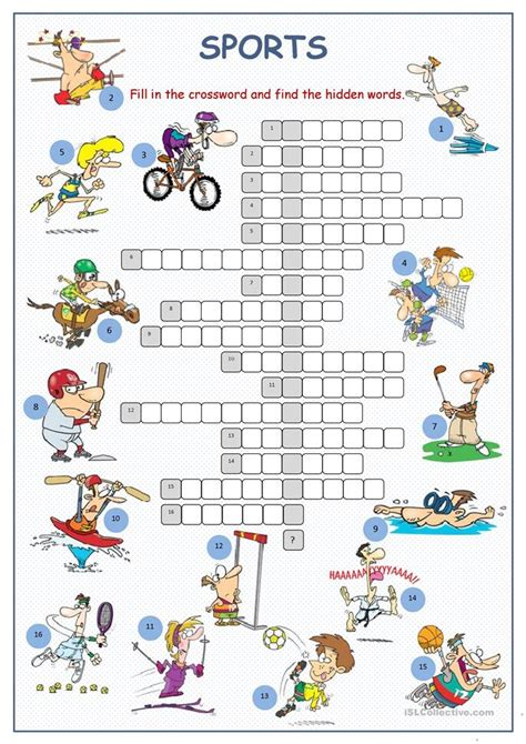 sports crossword puzzle worksheet  esl printable