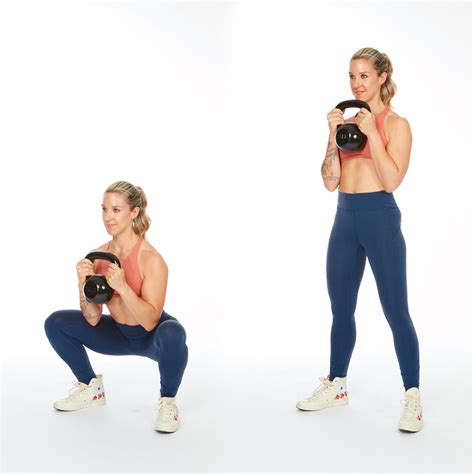 kettlebell squat workout press squats hands both standing fitness apart hip workouts draw down stand