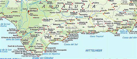landkarte von spanien andalusien costa del sol