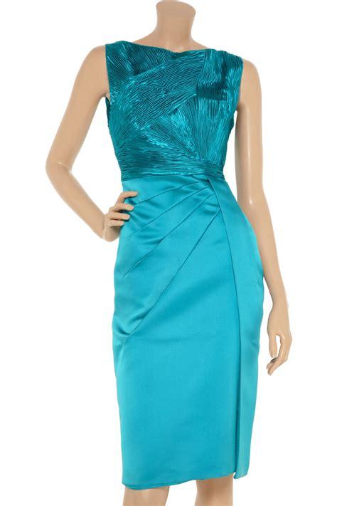 lyst valentino pleated silk satin dress  blue