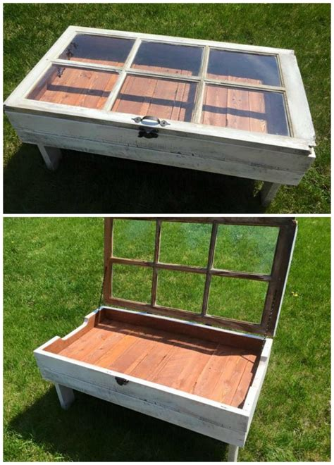 These diy coffee table projects and ideas are for every skill level. DIY Wood Pallet Window Coffee Table - Crafty Morning