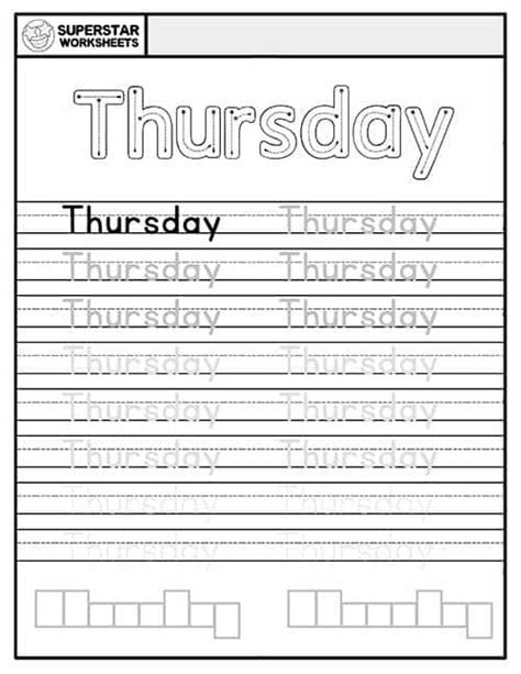 days   week worksheets    images