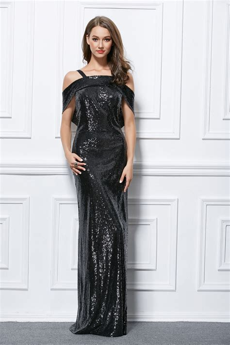 Floor Length Black Sequined Backless Evening Gown Prom