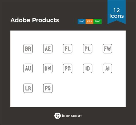 adobe products icon pack   svg png