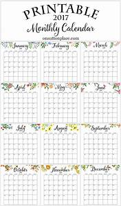 2017 free printable monthly calendar free printable With month at a glance blank calendar template