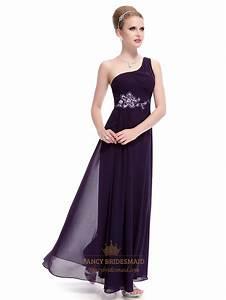 Dark Purple One Shoulder Prom Dress,Eggplant Purple Prom ...