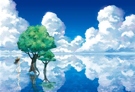 Tree Anime Wallpaper - sea clouds trees anime original characters