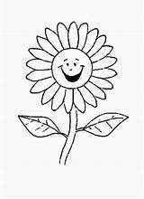 Flower Cartoon Daisy Coloring Sunflower Drawing Laughing Pages Print Getdrawings sketch template