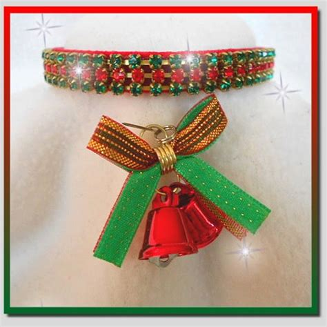 rhinestone dog collars christmas bells red velvet xsmall