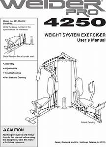 Weider Pro 4250 System 15402 Users Manual 154022 224978