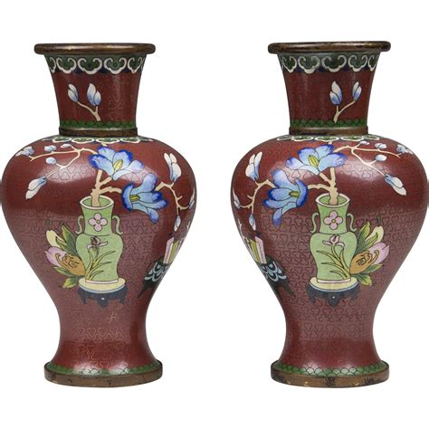 Pair Of Early 20th C Chinese Cloisonne Vases From Piatik