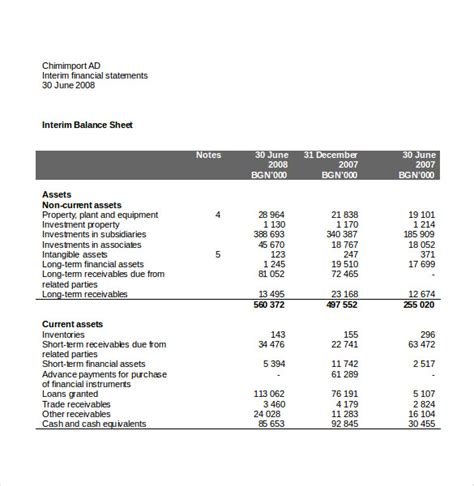 income statement templates word excel