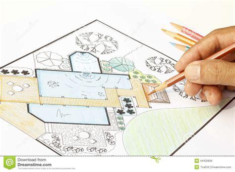 Landscape Architect Design Garden Plans For Backyard Stock