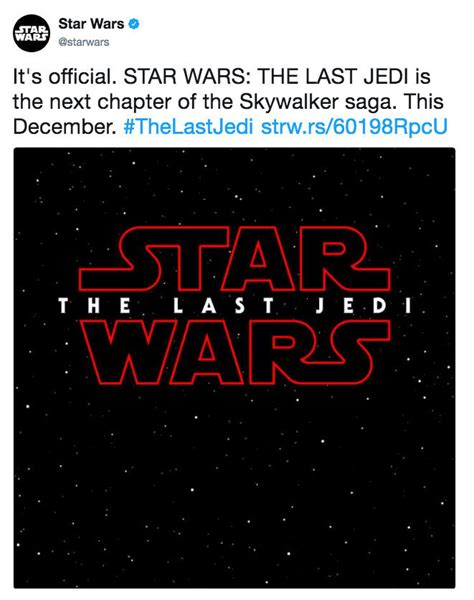 Star Wars The Last Jedi Memes - it s official star wars the last jedi is the next chapter of the skywalker saga this december