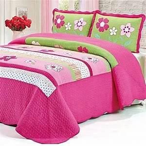 Fadfay, 100, Cotton, Pink, Girls, Floral, Bed, Quilt, Sets, Kids