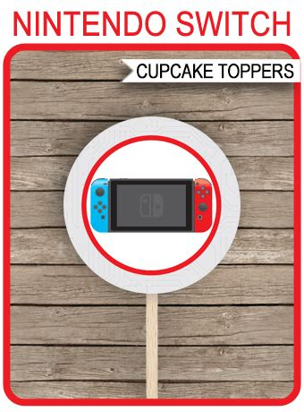 nintendo switch cupcake toppers video game theme