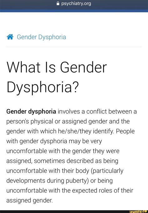 gender dysphoria ifunny featured involves assigned uncomfortable