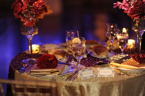 Wedding or Party Table Setting Red purple pink and