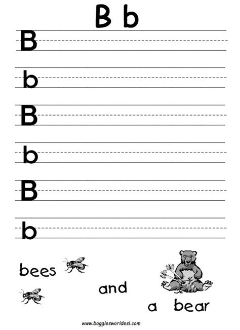 Pre K Alphabet Worksheets Printables  Big And Little B Writing Worksheet  Handwriting Practice