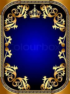 Illustration background frame with gold pattern and crown