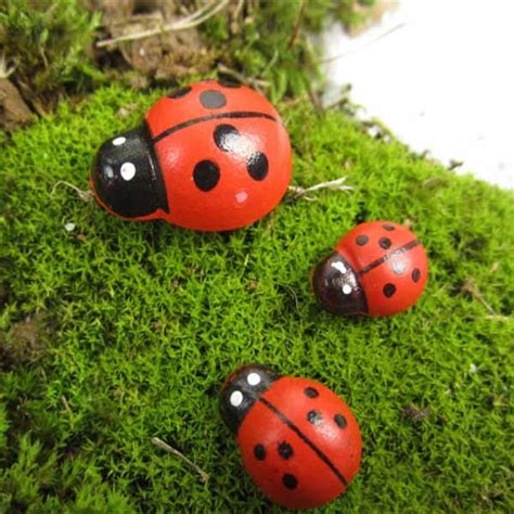 buy micro landscape wooden red ladybug home garden