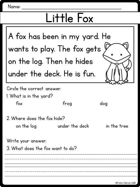 beginning reader comprehension kindergarten common core