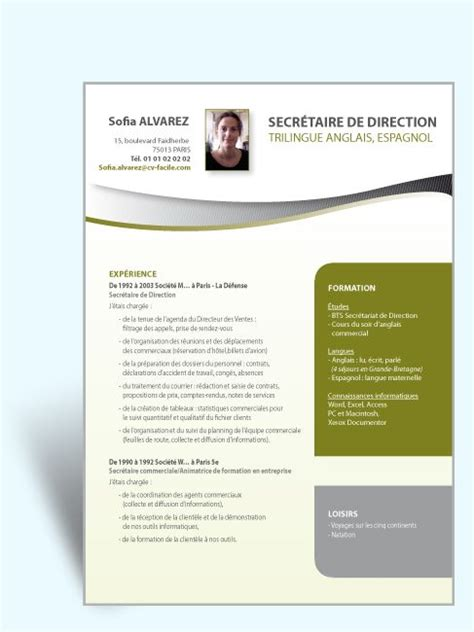modele de cv secretaire de direction modele cv exemple secretaire direction jpg 487 215 650 cv cv ideas products and infos