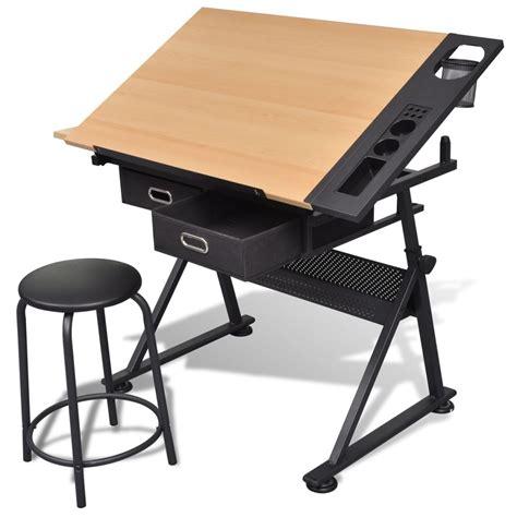 bureau de dessinateur vidaxl co uk two drawers tiltable tabletop drawing table