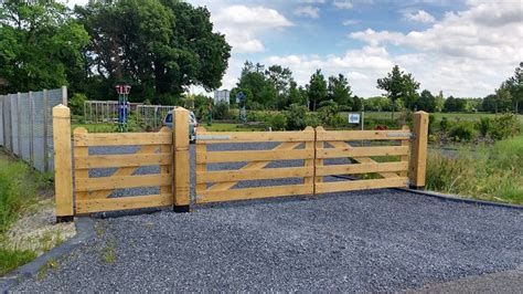 inrijpoort hek eiken hout 110 x 100 cm 4 planks landhek