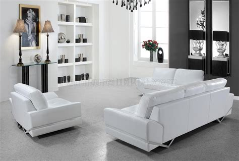 white leather modern 3pc sofa loveseat chair set