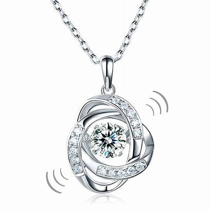 Dancing Pendant Stone Necklace Sterling Diamond Gift