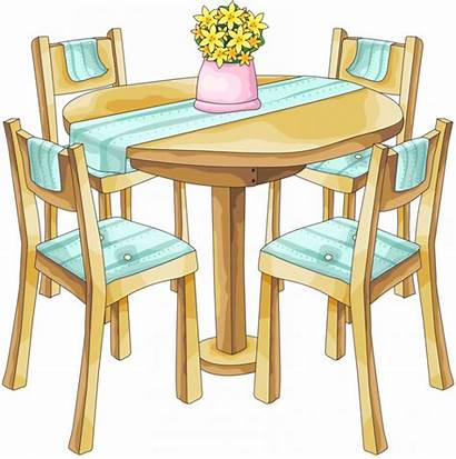Dining Clipart Clip Dinner Furniture Chairs Dishes