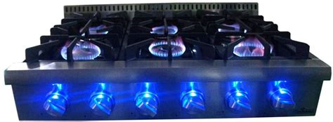 thor kitchen hrtu   gas rangetop  led control panel light continuous grates