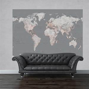 1 Wall Silver Map Mural World Globe Atlas Wall Art 2 32 x