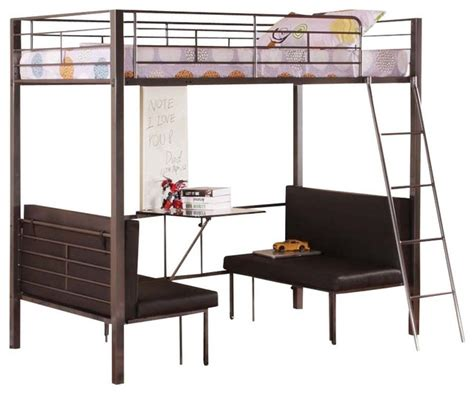 loft bed with table and benches shop houzz twin size metal bunk loft bed with adjustable