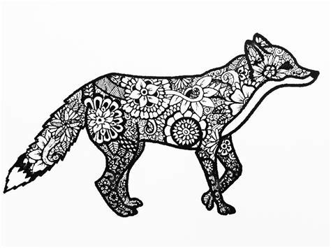 zentangle animals fox