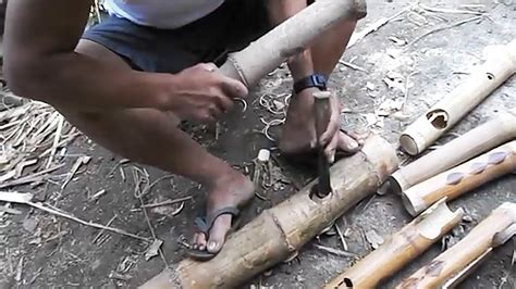 Making A Bamboo Joint By Hand  Filipino Craftsman Youtube