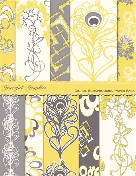 Yellow And Gray Scrapbook Paper