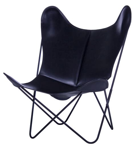 aa butterfly armchair leather black structure black