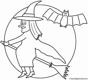Witch on broom with the moon and bat - Coloring Page ...