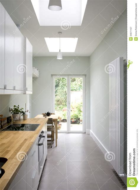 modern bright kitchen galley style stock image image