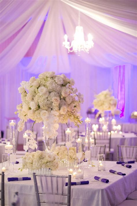 elegant purple  white wedding   detail