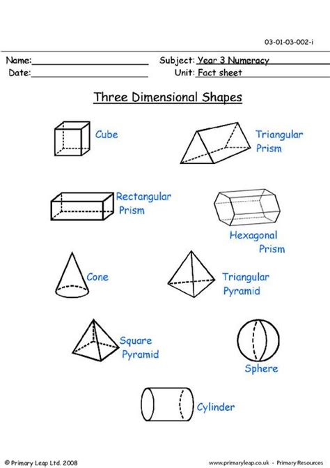 Three Dimensional Shapes (3d) Primaryleapcouk